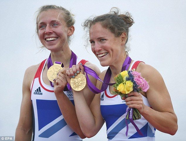 Triumph: Yorkshire athlete Katherine Copeland (left) won gold with Sophie Hosking (right) in the lightweight women's double sculls