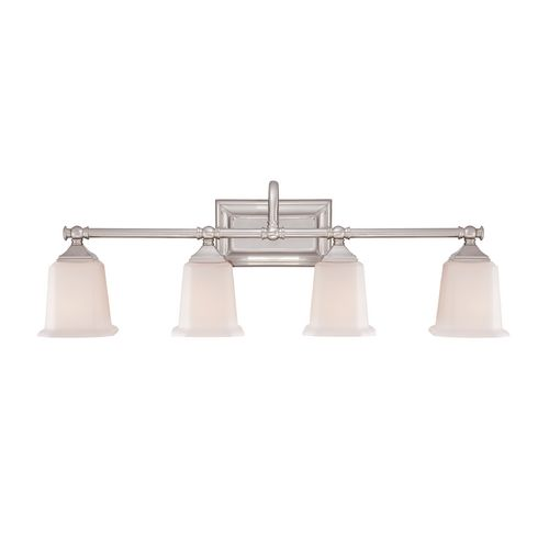 Bathroom Light with White Glass in Brushed Nickel Finish | NL8604BN | Destination Lighting