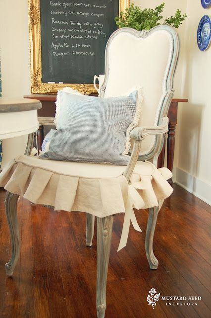 Awesome Tutorial From Miss Mustard Seed On Painting And Reupholstering Chairs Also Slipcovers Country Frenchfrench