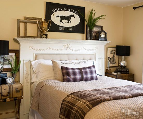 An old mantel proves to be just the thing for a statement-making headboard. Fill the firebox opening with an upholstered cushion for extra comfort, and use the top of the surround for displaying favorite finds. Be sure to use the appropriate hardware for securing the heavy mantel to the wall./