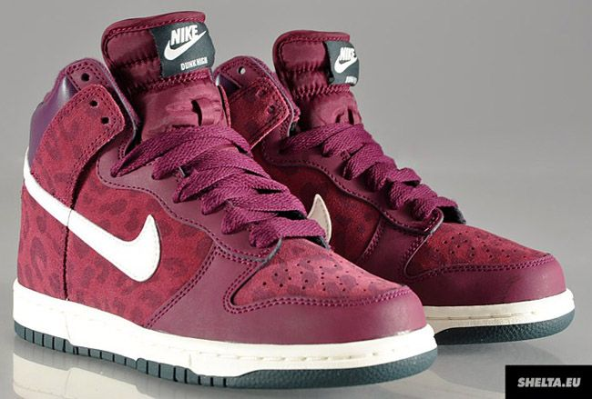 "Nike WMNS Dunk High ""Bordeaux & Seaweed"" - Leopard Pack: Nike Sportswear, Leopards Nike, Discount Nike Shoes, Nike Outfit, High Bordeaux, Nike Shoes 2014, Pink Nike, Leopards Packs, Dunks High"