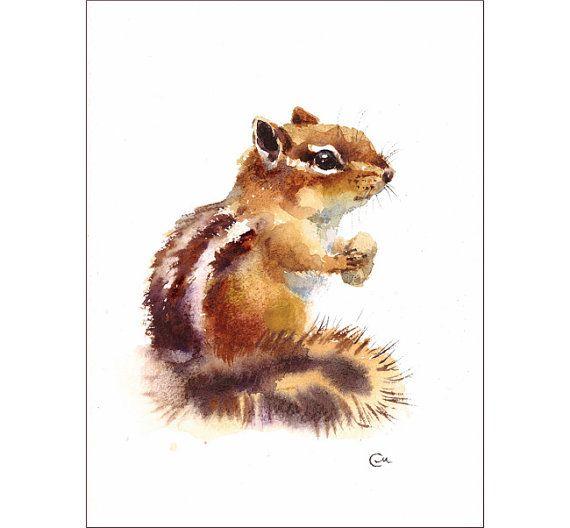 Tamia - peinture aquarelle originale 7 x 9 pouces des animaux sauvages