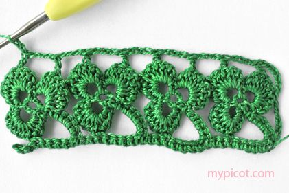 This would be cute as a St. Patricks Day headband---  MyPicot | Free crochet clover edging pattern.