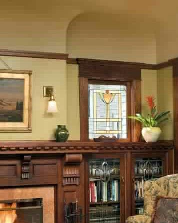 Arts Crafts - Bungalow - Interior - Design Built in bookshelves and stained  glass