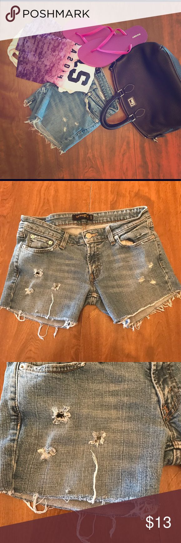 """Destroyed Levi's Shorts **HOMEMADE** I enjoy making shorts out of my old jeans for myself and others, so this is pair I had extra. These jeans were a low cut pair size 9 (jr's) that I have cut and made into shorts. These shorts have a 3"""" inseam, and are of stretchy material. They are super cute, but I have way to many. All offers are accepted. Shorts Jean Shorts"""