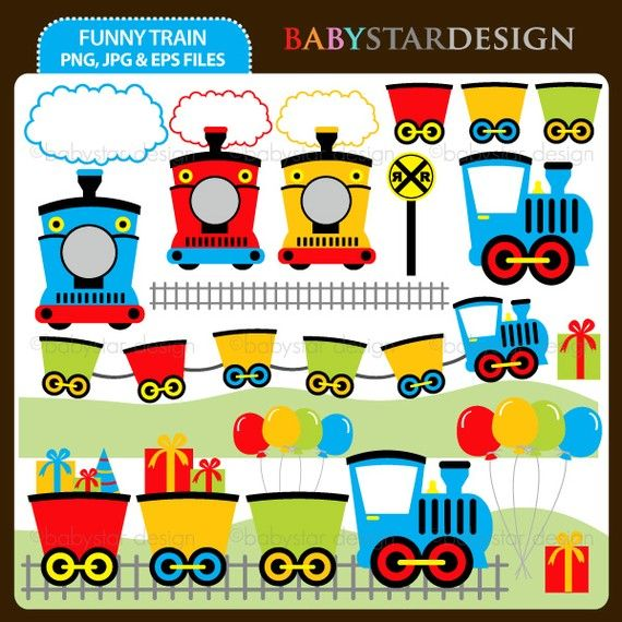 Funny Train Clip Art INSTANT DOWNLOAD by babystardesign on Etsy