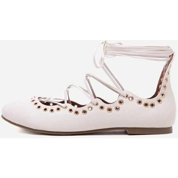 White Isabel Marant Leo Embellished Lace Up Ballet Flats (2.805 RUB) ❤ liked on Polyvore featuring shoes, flats, strap ballet flats, white shoes, vegan ballet flats, ballet pumps and strappy ballet flats