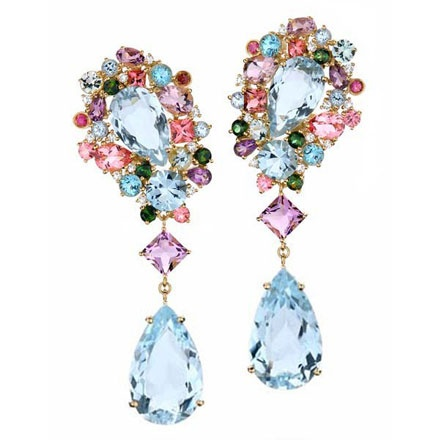 Garden earrings from Brumani. Yellow gold, blue topaz, amethyst, rose de france amethyst, green beryl as well as pink and green tourmaline. #jewelry