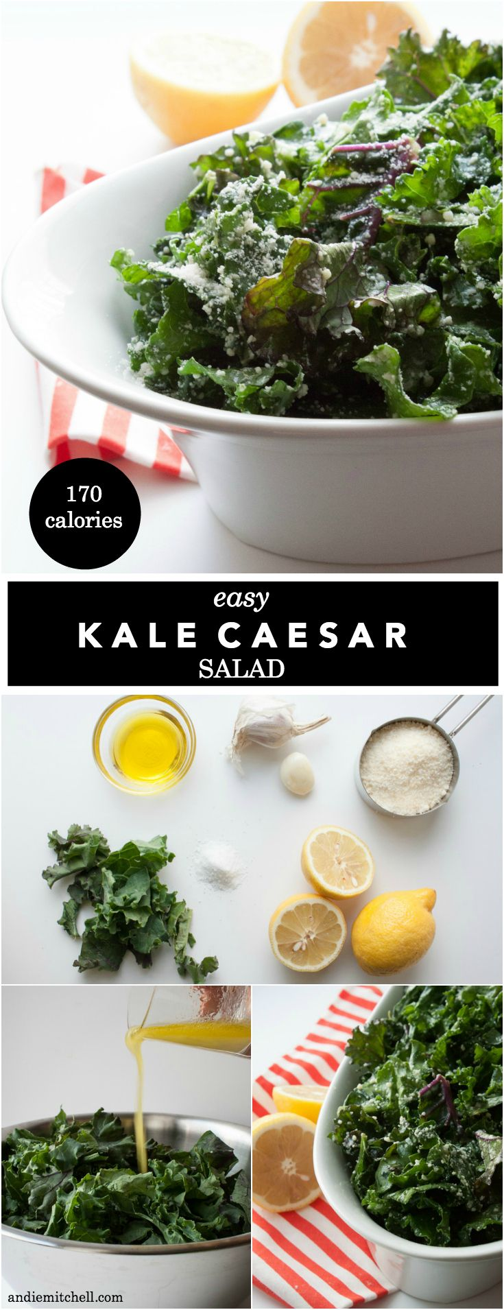 Easy No Massage Kale Caesar Salad Recipe - This recipe combines the heartiness of kale salad and the bright lemon parmesan flavor of caesar salad - with none of the fuss! It's easy and healthy!