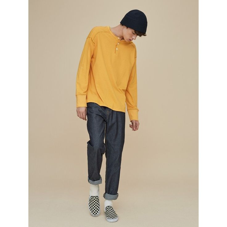 [2TO4] OVERSIZE HENLEY NECK T SHIRT YELLOW