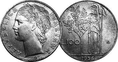 """Lira italiana (1861-2001)  (x) 100 liras (pequena, 1990-1992) O: figura laureada e em italiano """"República Italiana""""/R: a deusa romana da sabedoria Minerva e seu símbolo, a oliveira, e valor."""