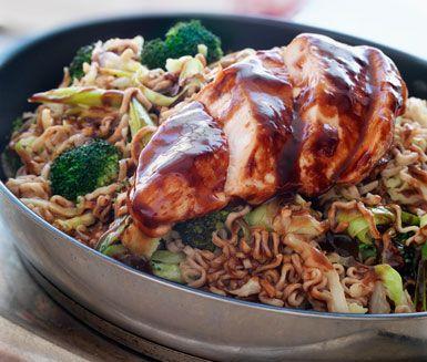 Recept: Kyckling Shanghai med nudlar