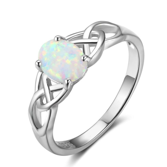 Post Included Aus Wide and to most international countries! >>> Celtic Design White Opal Ring - 925 Sterling Silver