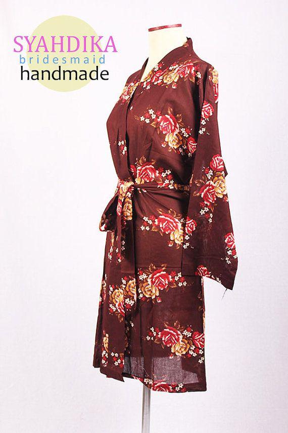 Wholesale kimono Dress Brown Floral Pattern For by syahdika