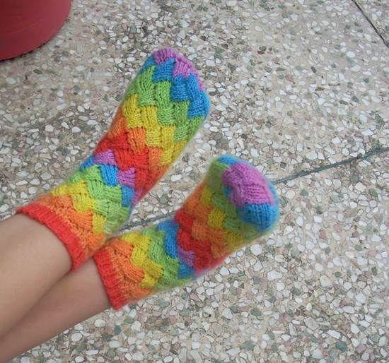 DIY Rainbow Color Patch Knitted Socks | iCreativeIdeas.com