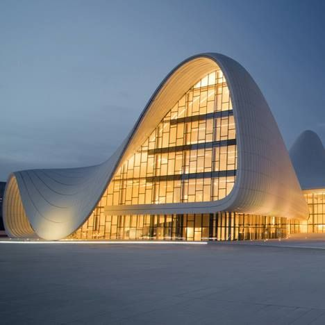 the first photographs of Zaha Hadid's almost-completed undulating cultural centre in Azerbaijan