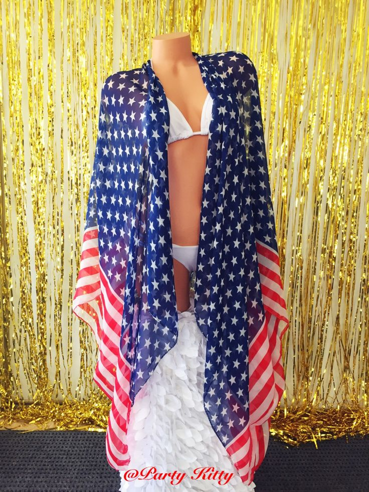American Flag Bikini Cover Up Bathing Suit Kimono Red White & Blue Swimsuit 4th of July Music Festival Poncho Stars and Stripes Scarf Top by PartyKitty1 on Etsy https://www.etsy.com/listing/267727641/american-flag-bikini-cover-up-bathing