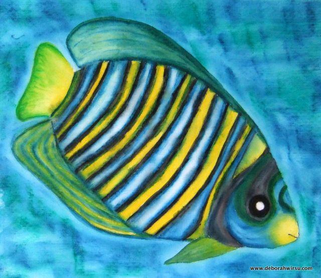 Tropical fish painted on fabric using Derwent Inktense blocks