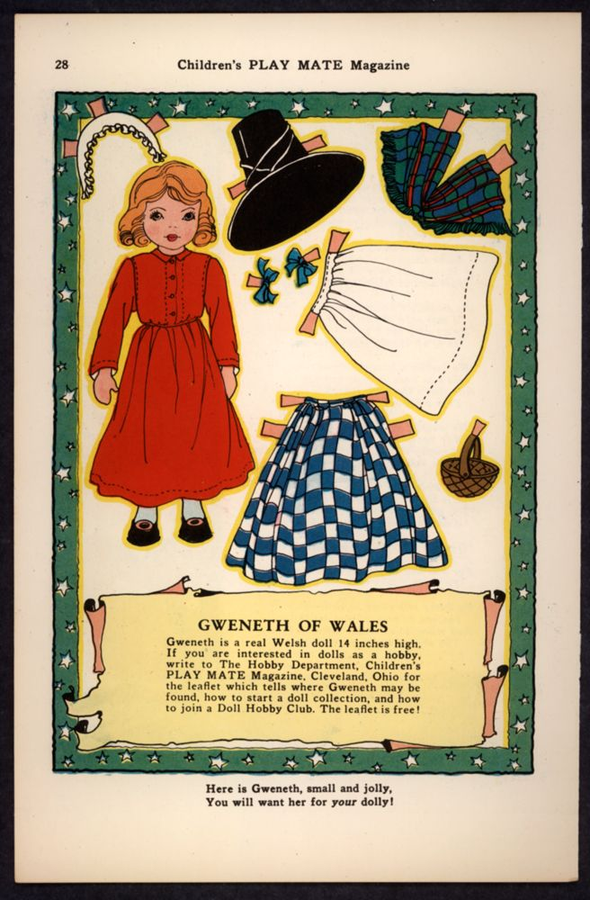 "Uncut ""Children's Play Mate"" Magazine Paper Doll Gweneth of Wales, artist not indicated"