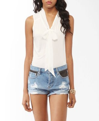 Bowtie Bodysuit                                                                                                                 Buttoned Tie Neck Bodysuit: Summer Spr Fashion, Ties Neck, Forever21 Shirts, Pretty Clothing, Neck Bodysuit, Forever21 Bodysuit, Neck Shirts, Buttons Ties, Styles Inspiration