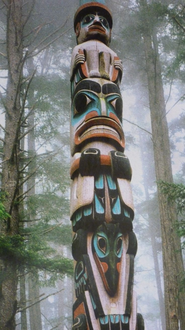 """My novel """"Promise"""" leads to an awareness of this. Totem pole in the forest"""