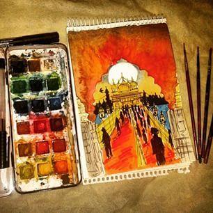 The Artist's Canvas Beautiful artwork of Sri Harmandir Sahib Ji (Golden Temple) by @kashu_nuts (Instagram)