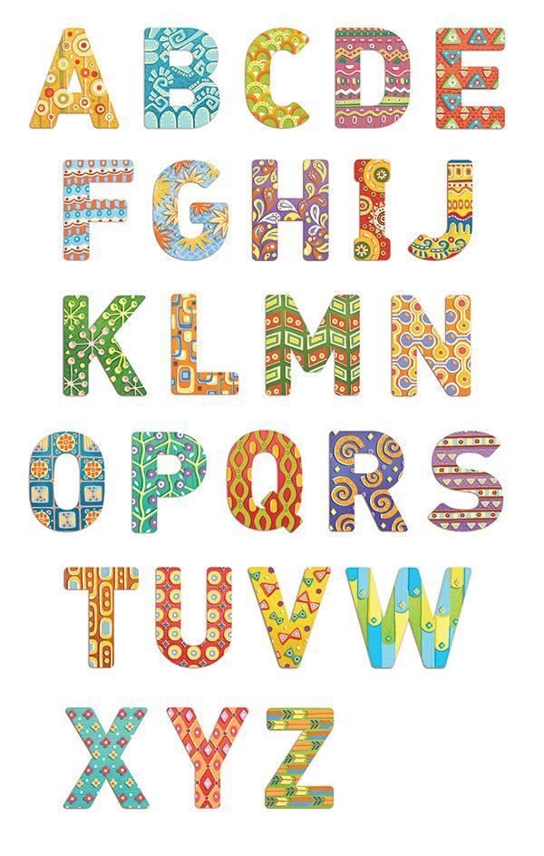 "Patterns, illustrations for the English alphabet for children's board game ""Zverobukvy English"" publishing ""Banda umnikov"", https://bandaumnikov.ru/ #abc #alphabet #pattern #board_game #english #education"