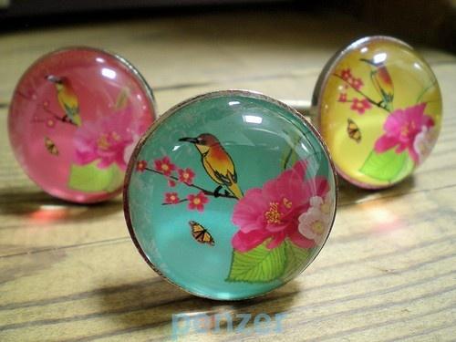 Lovely GLASS Picture DRAWER DOOR PULL Bright BIRD & FLOWER CUPBOARD KNOBS HANDLE | eBay