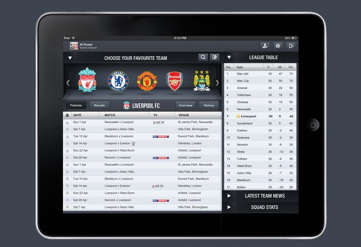 apple, design, ios, iPad, User Interface, inspiration, Football iPad App