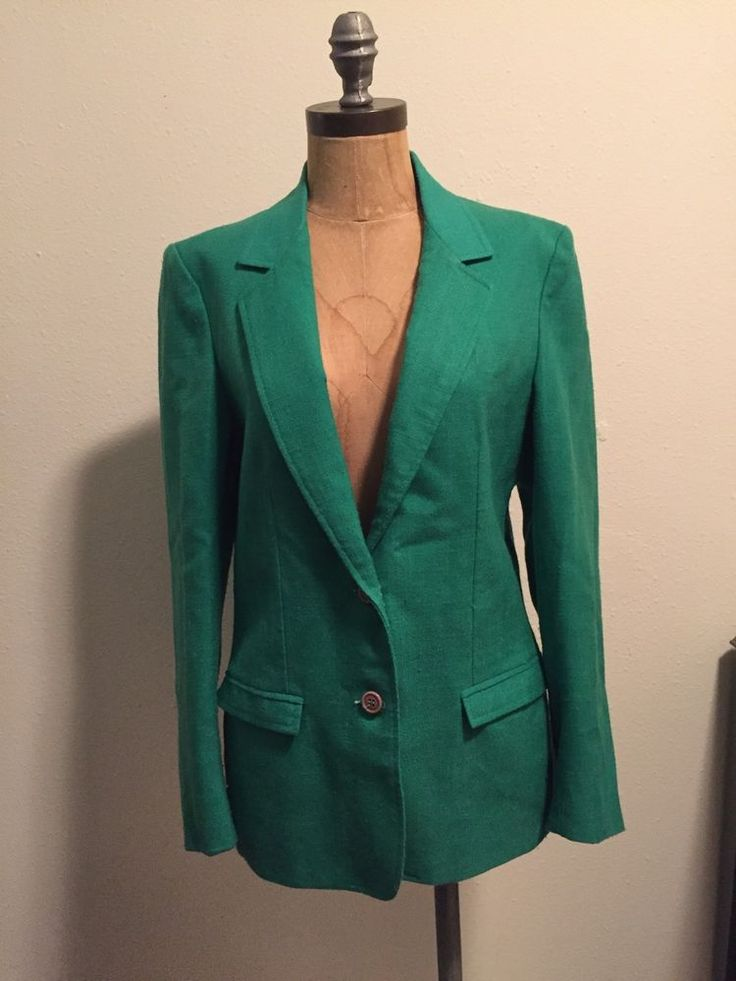 Vintage Oscar de La Renta Green Linen Blazer S | eBay