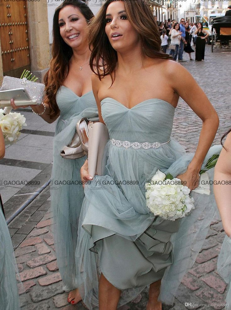 2016 Dust Blue Strapless Long Tulle Beach Boho Bridesmaid Dress With Beaded Sash Elegant Backless Maid Of Honor Wedding Party Gown Black Chiffon Bridesmaid Dresses Bridesmaid Dress Cheap From Gaogao8899, $82.73| Dhgate.Com