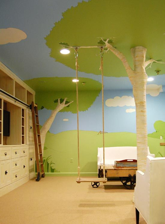 Very cool indoor tree swing. Childrens Bedroom Idea... I wouldnt have it quite the same, because you dont want something that would cost thousands of dollars to redo when they become a teenager... but, something similar would be cool!