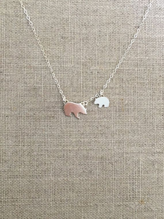 Mama Bear and Cub Necklace  Sterling Silver  Baby by AllieMiezin