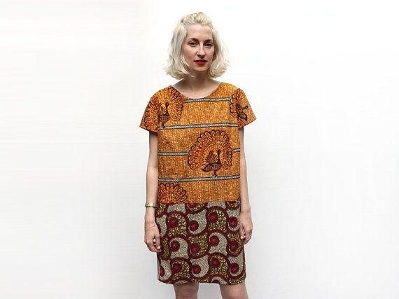 Bird Print Dress Orange Dress African Dress Tunic by ALUMAhandmade
