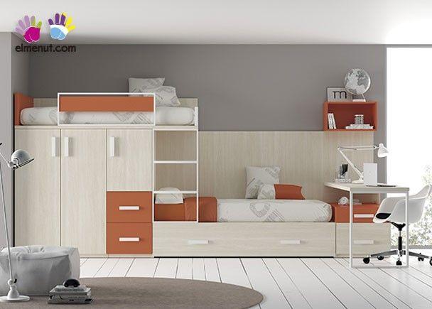 Dormitorio infantil camas tipo tren armario mobiliario - Habitacion tren juvenil ...