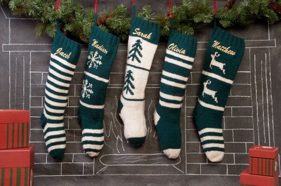 Set of 5 Knitted Personalized Christmas Stocking /Hand Knitted Wool Chrismas Stockings / Green White Christmas stocking collection 1710.S5
