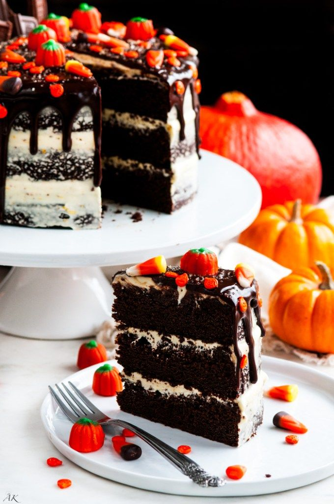 Halloween Chocolate Pumpkin Cake with Orange Cream Cheese Frosting