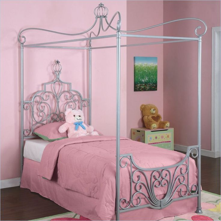 powell furniture princess rebecca sparkle silver twin metal canopy bed p01 frame sold - Twin Size Canopy Bed Frame