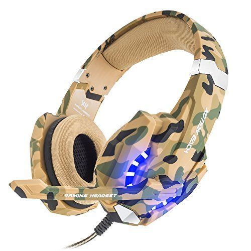 BENGOO Gaming Headset for PS4 Professional 35mm PC LED Light Game Bass Headphones Stereo Noise Isolation Overear Headset with Mic Microphone for PS4 Laptop Computer and Smart PhoneCamouflage -- Details can be found by clicking on the image.