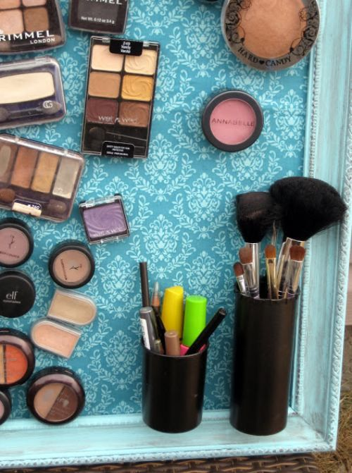 DIY :: Keep your make-up organized with a magnet make-up board. ~~ Borderless cookiesheet, contact paper or mod modge other paper, magnets, and frame. Daughter's bathroom.