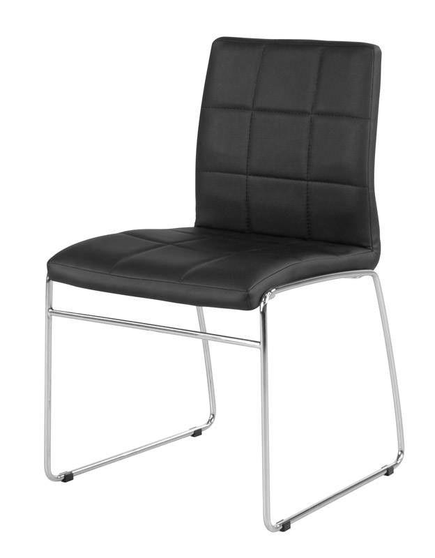 Cube Spisestol - Flotte spisebordstoler i svart kunstskinn med krom understell. Stolene selges kun i sett med fire stk.
