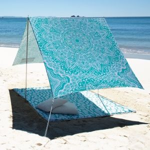 "Beach Shade: use my Lowes Project pin ""DIY Beach Shade"" plus hand paint desired designs on painter's drop cloth, bed sheet, or sun-safe fabric from an upholstery fabric supplier"