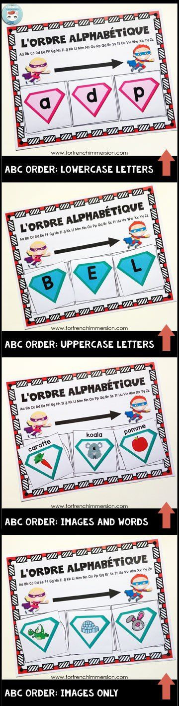 French Alphabet Centers - alphabetical order cards and sorting mat: ordering letters and words in ABC order. Centres de littératie - l'alphabet.