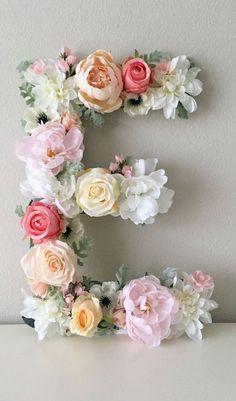 Floral Brief, Floral Initiale, Kindergarten Brief, Blume Brief, Wandkunst Kinderzimmer, Babygeschenk, Shabby Chic, Boho Chic Kinderzimmer Dekor, Kinderzimmer Kunst