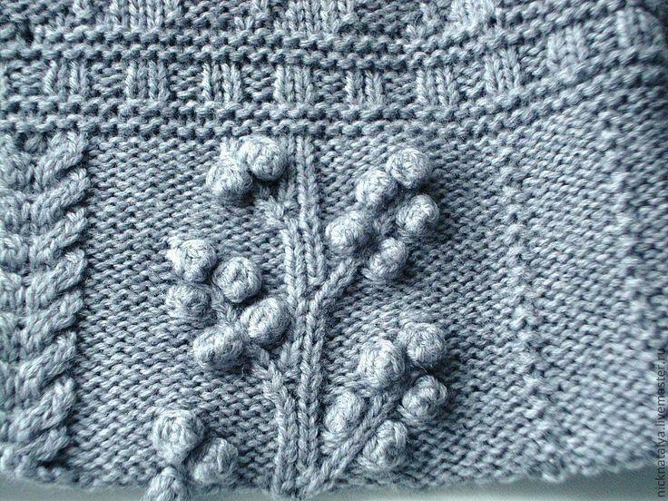 """Купить Жилет-туника """"Хиппи шик"""" - серый, для полных женщин, узор с аранами, ручное вязание"""