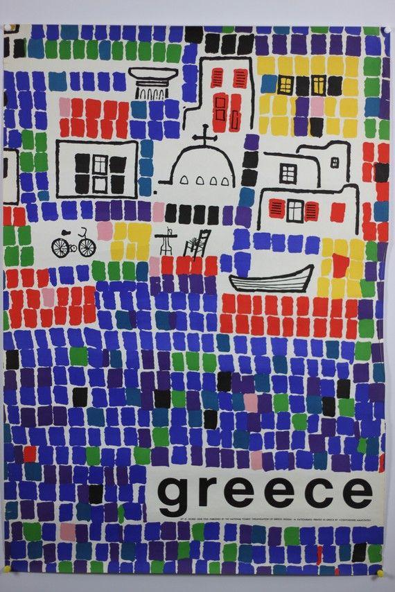 #Original #Vintage #Travel #Poster #Greece Mosaic 1963