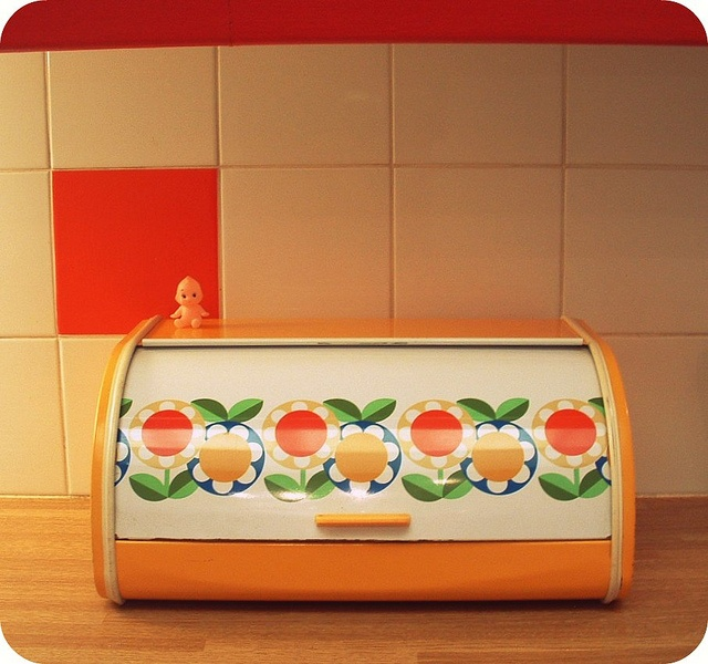 Vintage Orange Flower Bread Box
