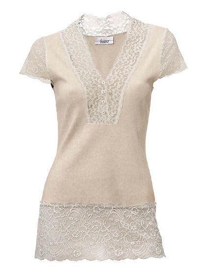 linea tesini spitzenshirt sand im heine online shop kaufen