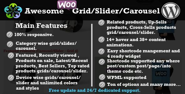Awesome Woocommerce Products Grid/Slider/Carousel   http://codecanyon.net/item/awesome-woocommerce-products-gridslidercarousel/7928428?ref=damiamio      Reviews from clients     TWI Awesome Woocommerce Grid-Carousel-Slider is super flexible responsive Woocommerce plugin.By this plugin you can make your Woocommerce products category wise smart grid,carousel,slider anywhere with Post, Custom Posts, Page, Widget as well as into your theme code by Shortcode/Widget with the powerful admin…