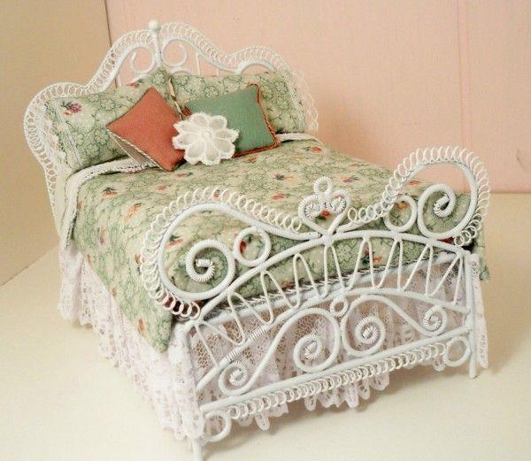 Dollhouse Miniature White Wicker Aqua Double Bed By Minieoriginals